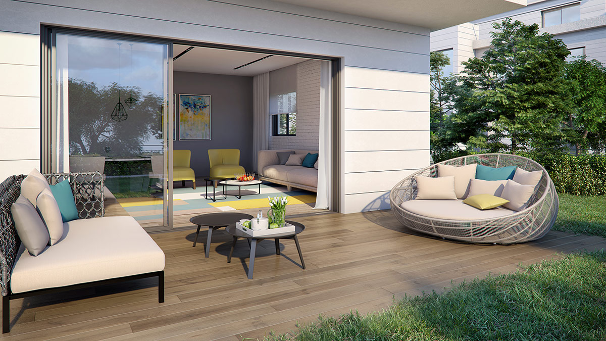 פרויקט אלמוג שוהםA-LA-PARK- הדמיית דירת גן