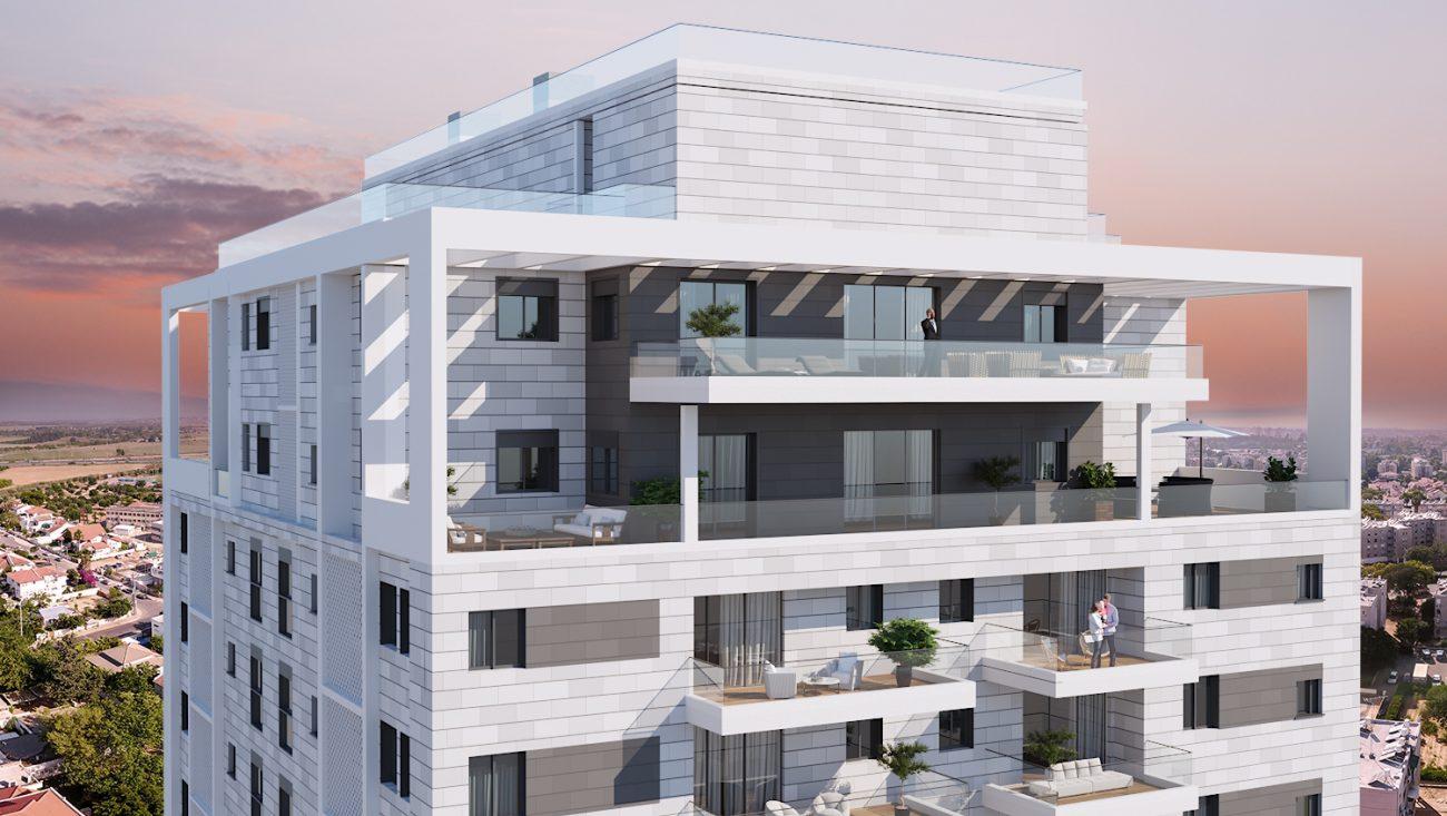 הדמיית פרויקט אלמוג יבנה - מבט לקומות עליונות של הבניין