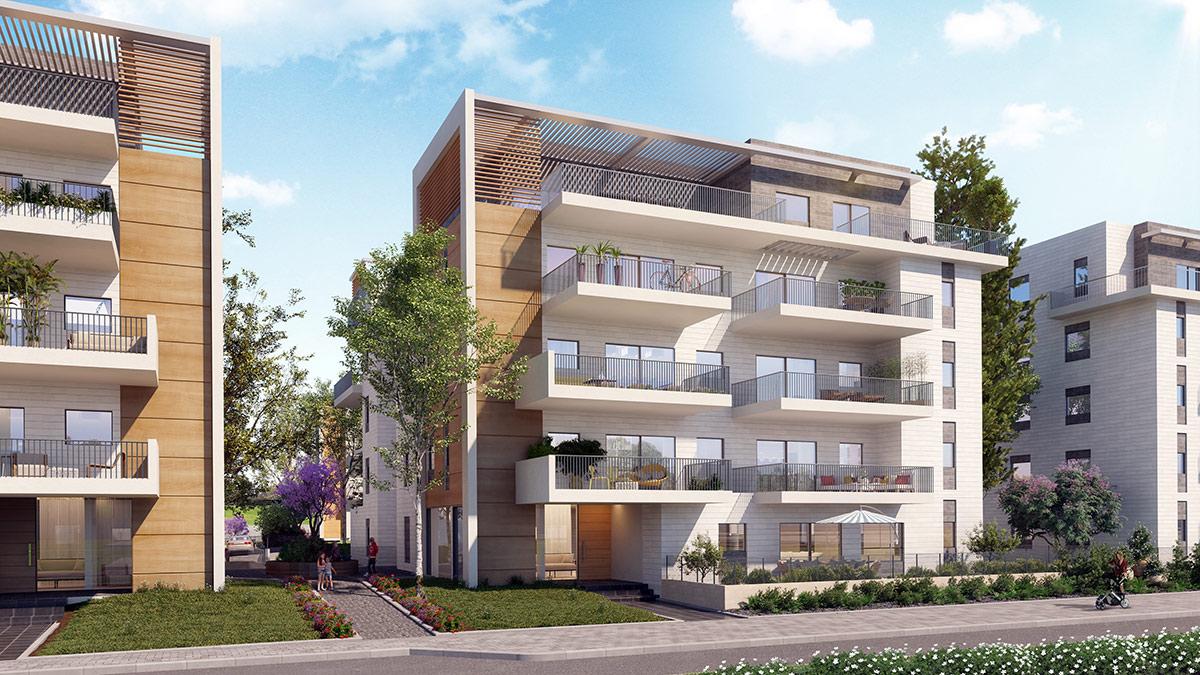 פרויקט אלמוג שוהםA-LA-PARK- הדמיית בניין מדגם B