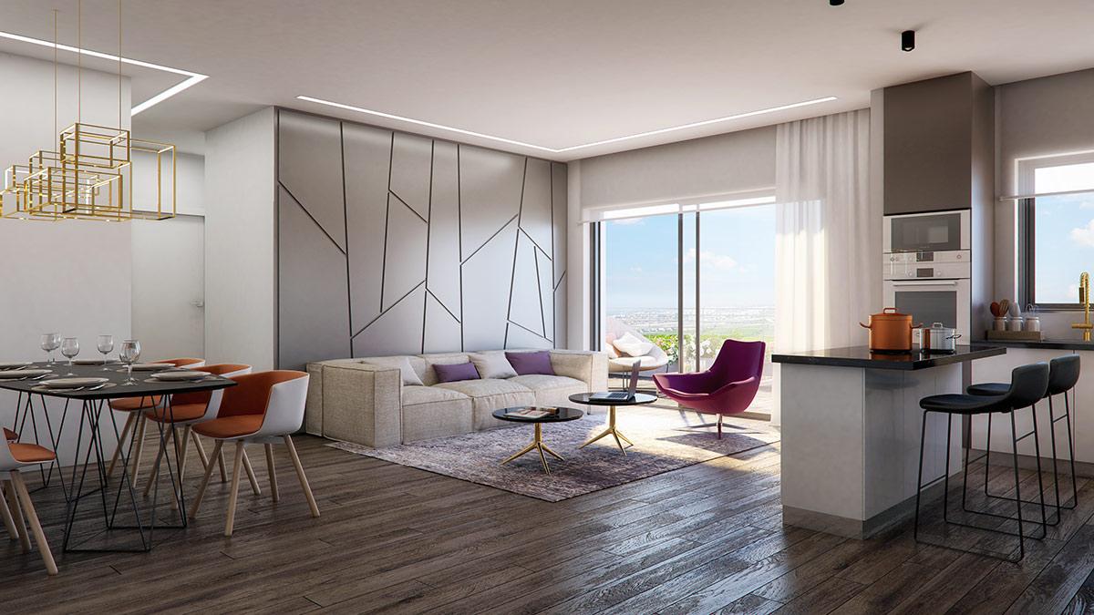 פרויקט אלמוג שוהםA-LA-PARK- הדמיית דירת 5 חדרים
