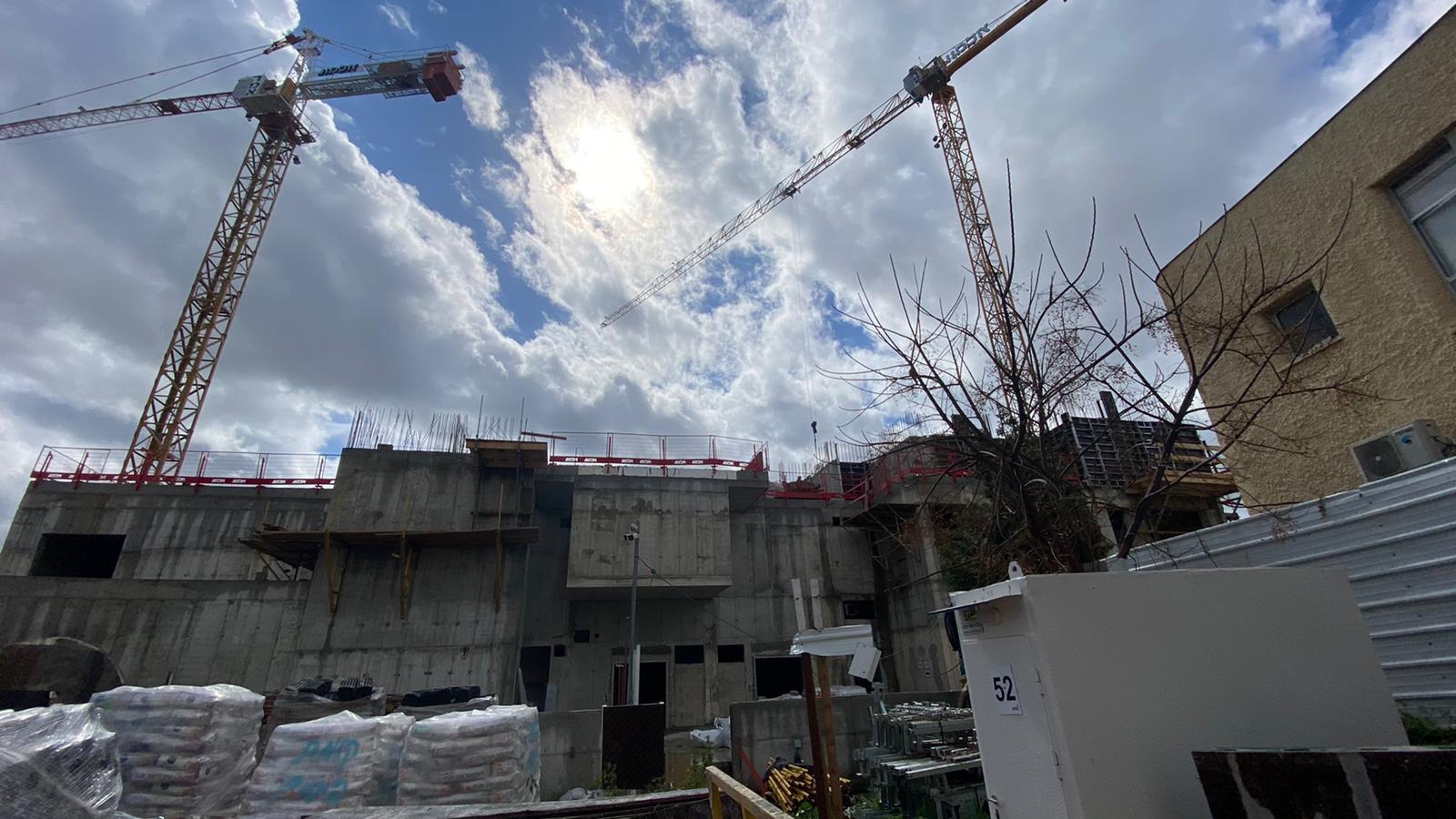 שלד קירות קומה ראשונה ותחילת עבודות תקרה קומה שנייה. 23.02.2021