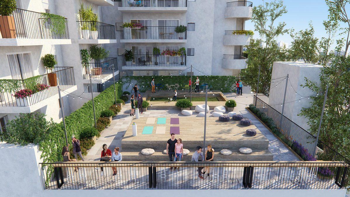 הדמיית גג קהילתי פרויקט Almog The Complex - תל אביב
