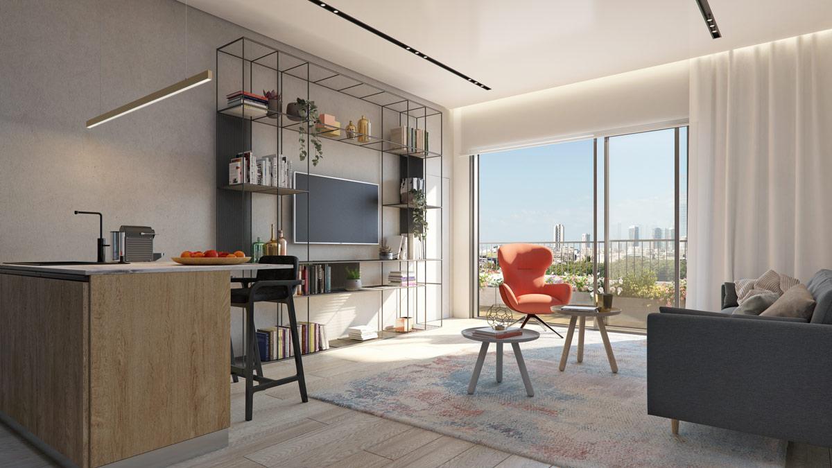 הדמיית פנים דירת 3 חדרים פרויקט Almog The Complex - תל אביב