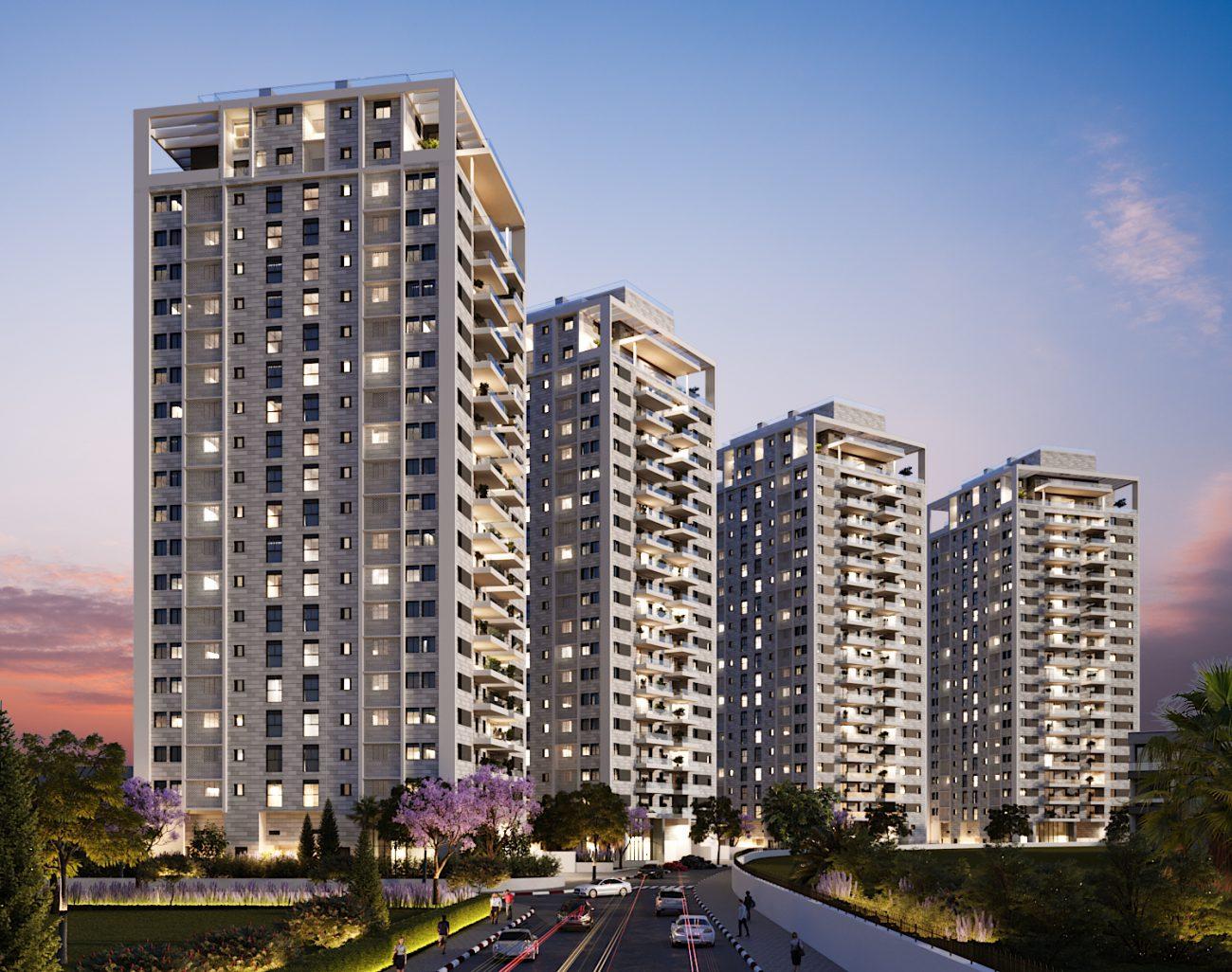 הדמיית פרויקט אלמוג יבנה - 4 בניינים ברחוב לקראת ערב