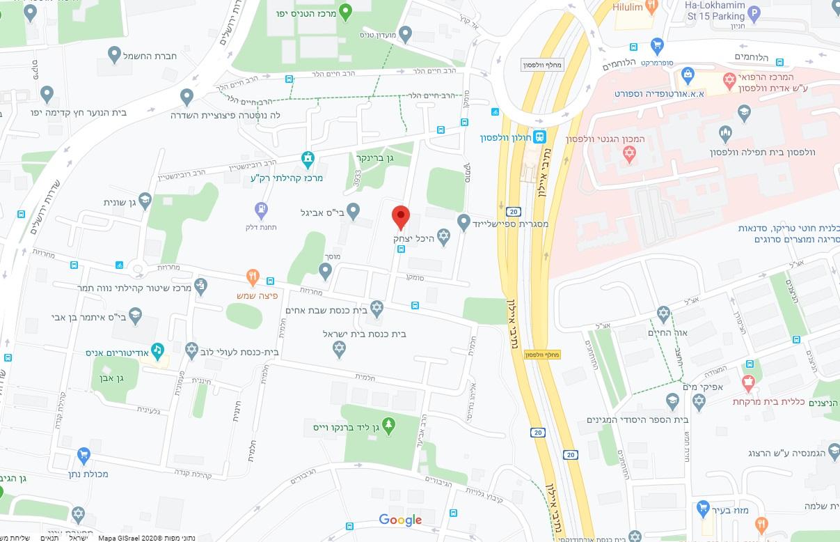 מפת אזור פרויקט נרדור, תל אביב יפו