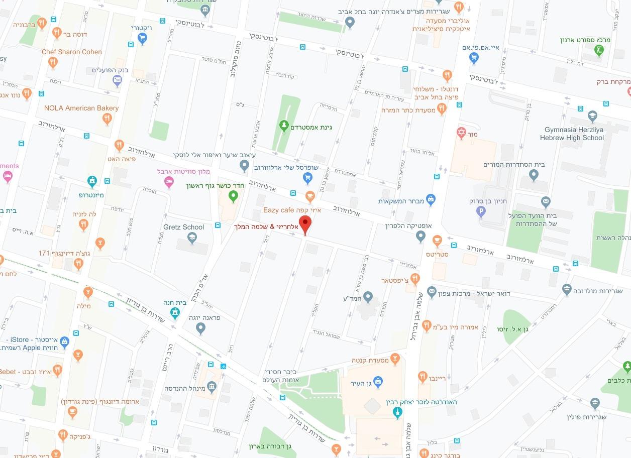 מפת אזור הפרויקט שלמה המלך / אלחריזי, רובע 3, תל אביב