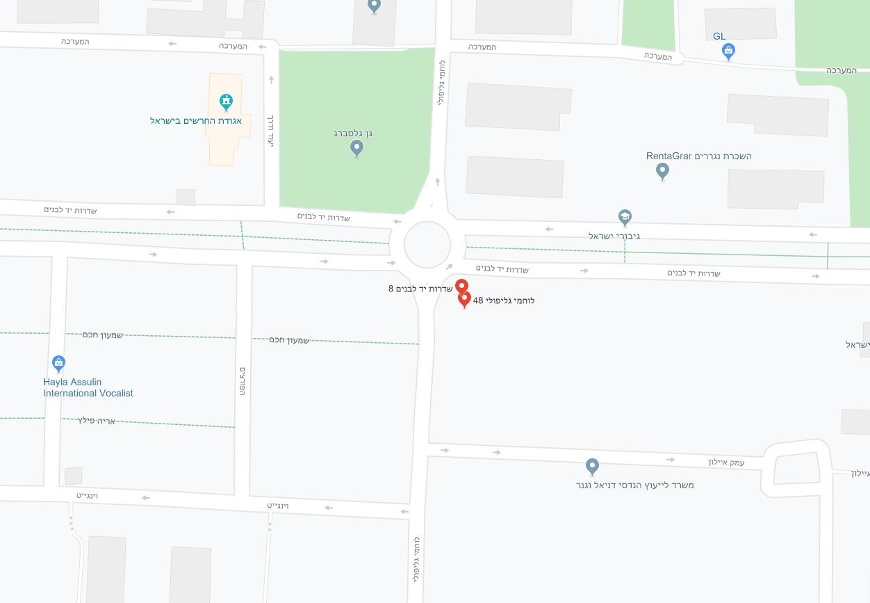 מפת אזור הפרויקט - לוחמי גליפולי 42,44,46,48 שד' יד לבנים 8, תל אביב