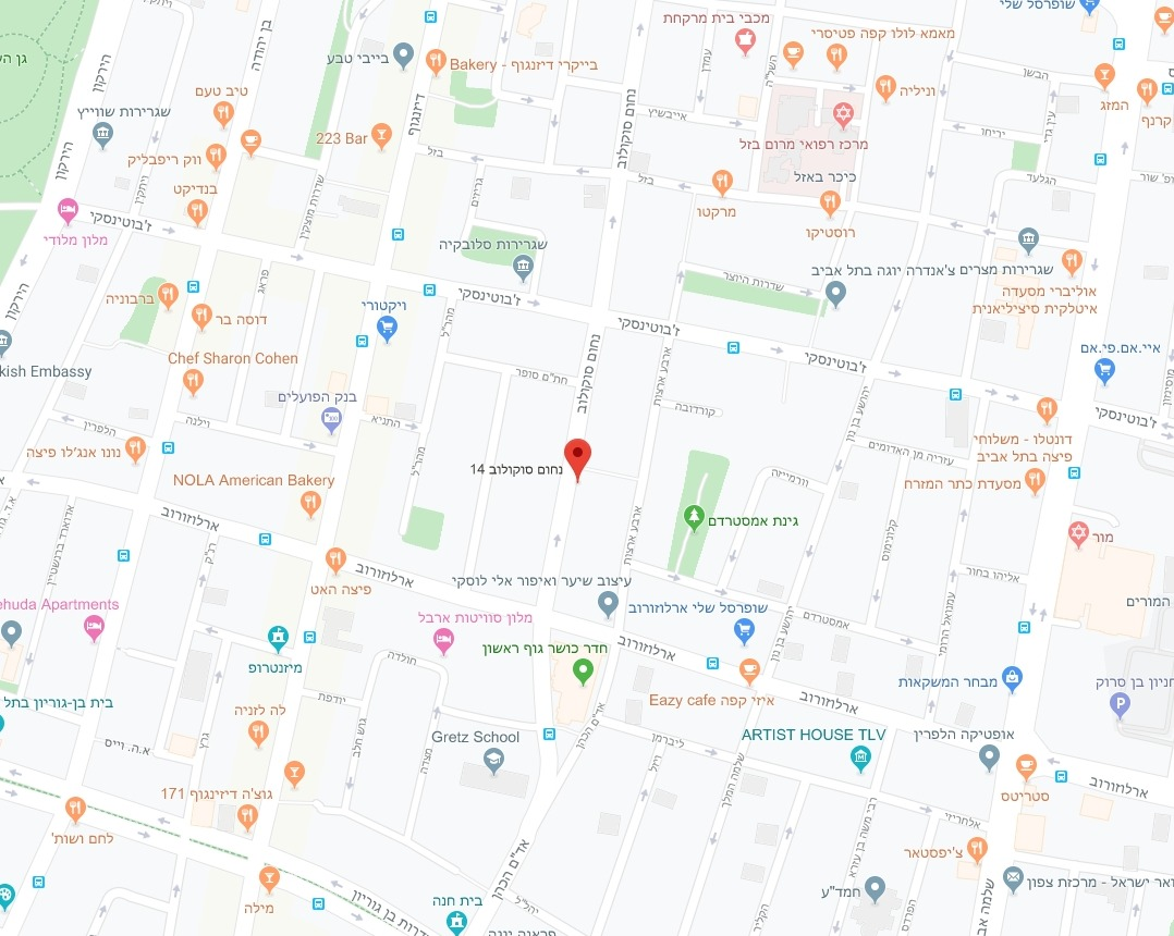 מפת אזור הפרויקט - סוקולוב 14, רובע 3, תל אביב
