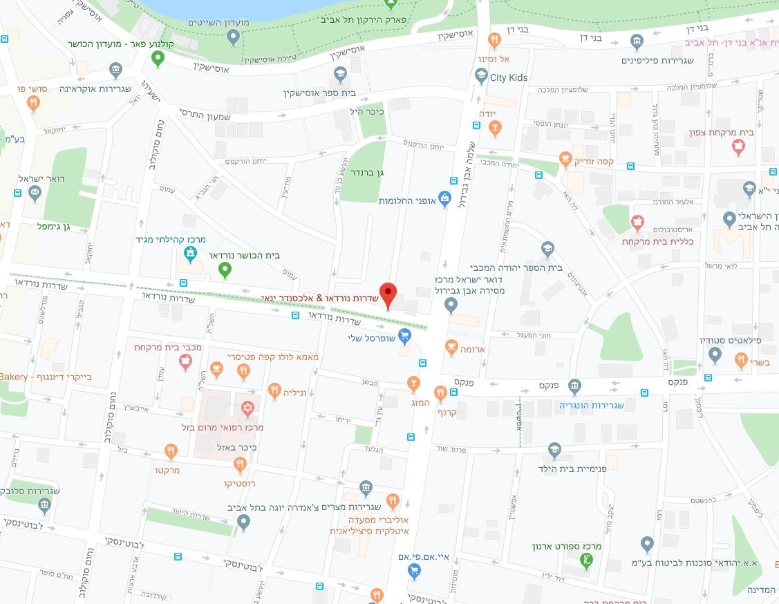 מפת אזור הפרויקט אלכסנדר ינאי / שד' נורדאו, רובע 3, תל אביב
