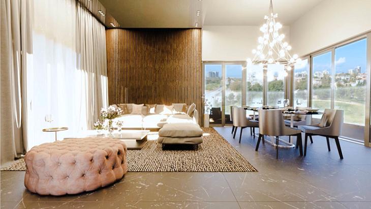 פנטהאוז פרויקט י.ל. ברוך הרצליה - הדמיית חדר מגורים ופינת האוכל