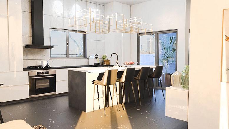 פנטהאוז פרויקט י.ל. ברוך הרצליה - הדמיית המטבח